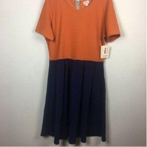 LuLaRoe Amelia Dress 2XL Orange Top Blue Skirt